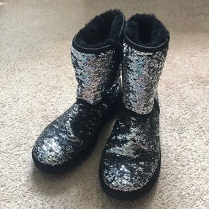 Sparkly Silver and Black Uggs